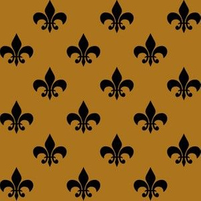 One Inch Black Fleur-de-lis on Matte Antique Gold