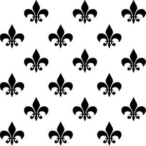 One Inch Black Fleur-de-lis on White