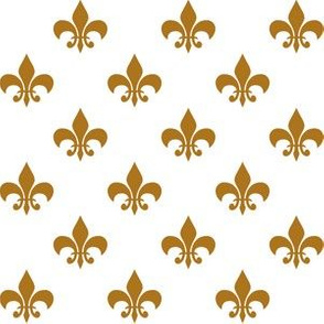 One Inch Matte Antique Gold Fleur-de-lis on White