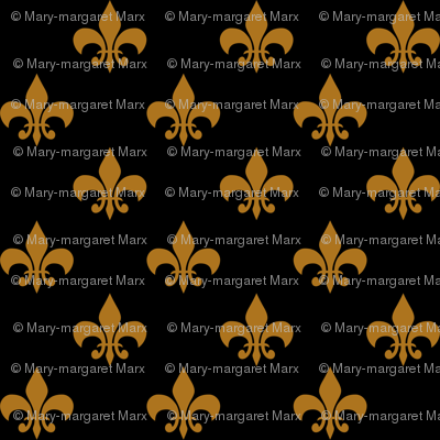 One Inch Matte Antique Gold Fleur De Lis On Black Fabric