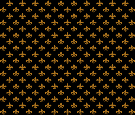 One Inch Matte Antique Gold Fleur-de-lis on Black fabric by mtothefifthpower on Spoonflower - custom fabric
