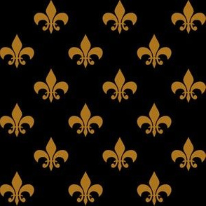 One Inch Matte Antique Gold Fleur-de-lis on Black