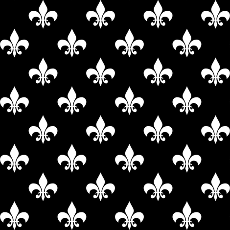One Inch White Fleur-de-lis on Black fabric by mtothefifthpower on Spoonflower - custom fabric