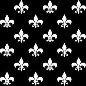 One Inch White Fleur-de-lis on Black
