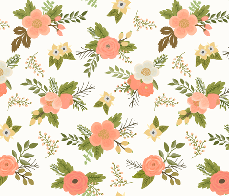 Sweet Bouquets in Coral fabric by willowlanetextiles on Spoonflower - custom fabric