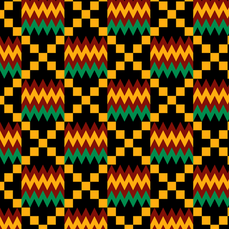 3 Inch Yellow, Green, Red, on Black, Kente Cloth fabric by mtothefifthpower on Spoonflower - custom fabric