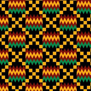 3 Inch Yellow, Green, Red, on Black, Kente Cloth