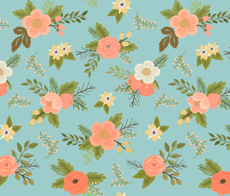 Sweet Bouquets in Aqua and Peach fabric by willowlanetextiles on Spoonflower - custom fabric