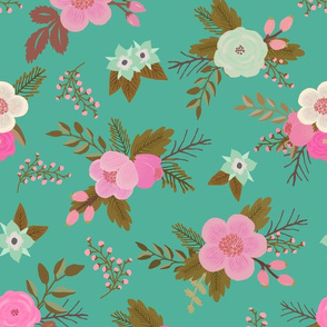 Sweet Bouquets, Pink on Teal