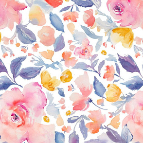Blues and Pinks Watercolor Flowers