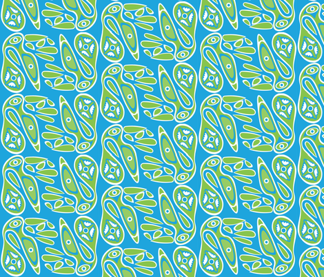 Birds_green_blue fabric by malolo on Spoonflower - custom fabric
