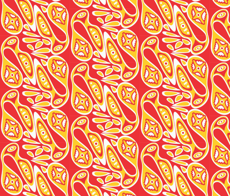Birds_red_yellow fabric by malolo on Spoonflower - custom fabric