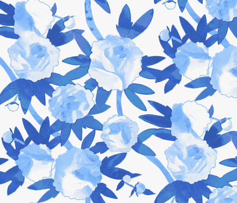 Chinoiserie Peonies in Blue fabric by willowlanetextiles on Spoonflower - custom fabric