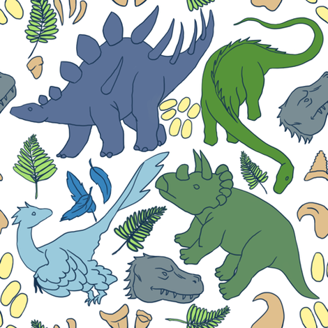 dino_pattern_white fabric by ibijau on Spoonflower - custom fabric