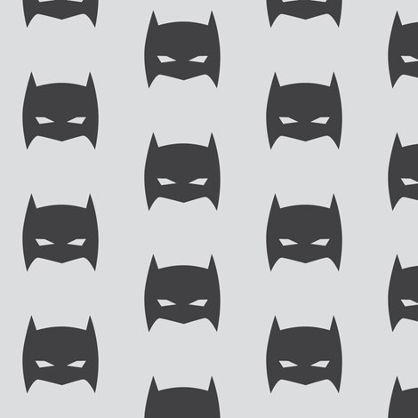 Superhero Bat Mask Gray on Gray fabric by bub&cub on Spoonflower - custom fabric