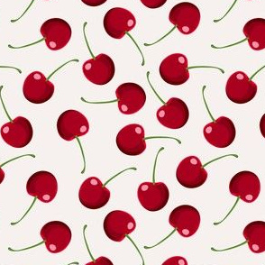 Pattern With Fresh Red Cherries