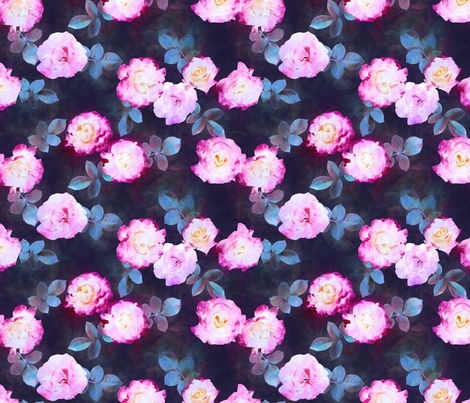 Twilight Roses small print fabric by micklyn on Spoonflower - custom fabric