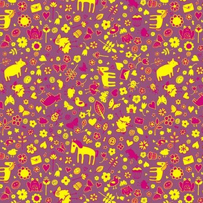 Pigs and Ponies Ditsy - Pink and Yellow
