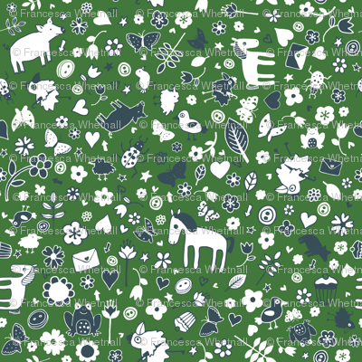 Pigs and Ponies Ditsy - Green and White