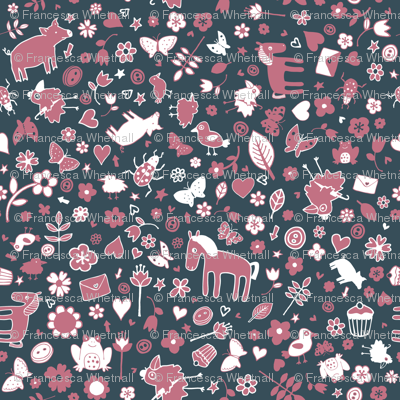 Pigs and Ponies Ditsy - Rose pink, Slate grey