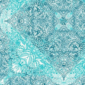 Super Detailed Diamond Doodle in Turquoise and Teal