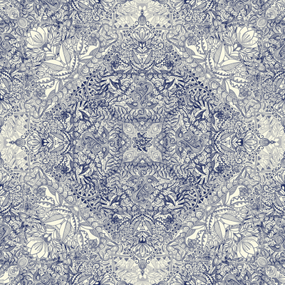 Super Detailed Diamond Doodle in Navy Blue and Cream