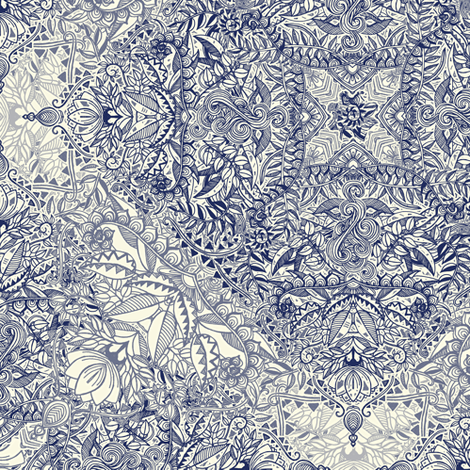 Super Detailed Diamond Doodle in Navy Blue and Cream fabric by micklyn on Spoonflower - custom fabric
