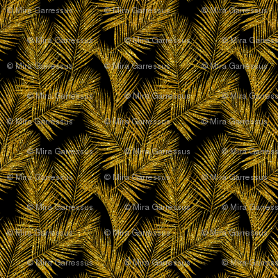 gold glitter palm leaves - black, small. silhuettes faux gold imitation tropical forest black background hot summer palm plant leaves shimmering metal effect texture fabric wallpaper giftwrap