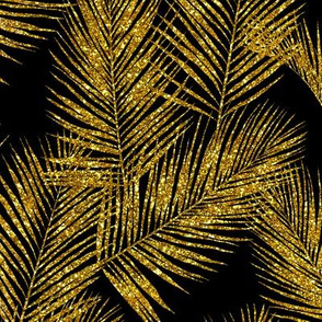 gold glitter palm leaves - black, small