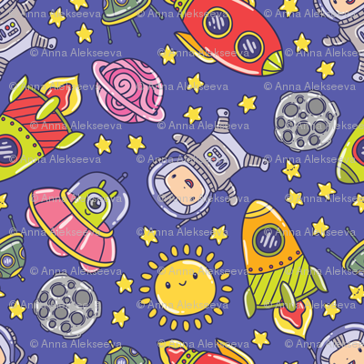 Space fabric kostolom3000 spoonflower for Space baby fabric