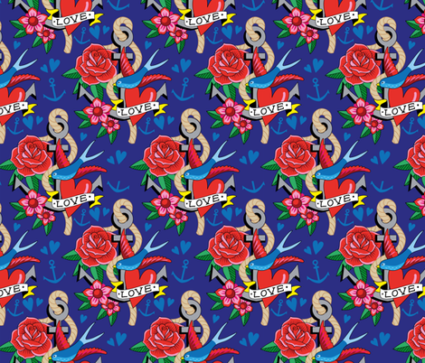 Tattoo Love fabric by hamburgerliebe on Spoonflower - custom fabric
