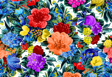Mid Century Floral ~ Garden Party ~ In Bloom  fabric by peacoquettedesigns on Spoonflower - custom fabric