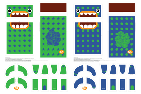 Mini Hungry Monster Toy Bags: Blue/Green Stars & Spots fabric by sammyk on Spoonflower - custom fabric