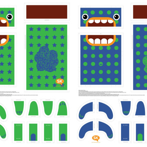 Mini Hungry Monster Toy Bags: Blue/Green Stars & Spots