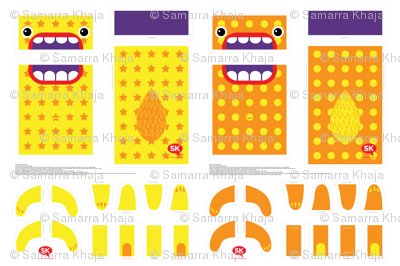 Mini Hungry Monster Toy Bags:  Orange/Yellow Stars & Spots