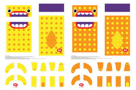 Mini Hungry Monster Toy Bags:  Orange/Yellow Stars & Spots fabric by sammyk on Spoonflower - custom fabric