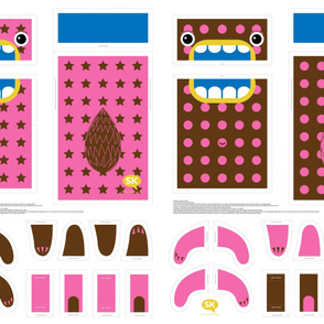 Mini Hungry Monster Toy Bags: Pink/Brown Stars & Spots