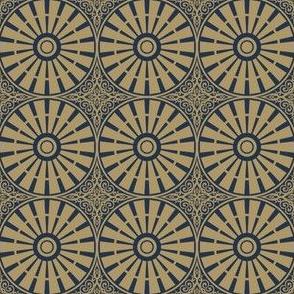 Autumn Plum Windmill Wheels - Navy and Gold