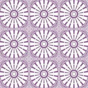 Autumn Plum Windmill Wheels - Lavender Sky