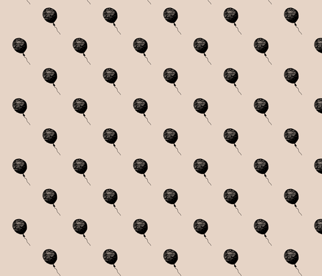 balloons_ss16_black_pink_200x200mm_basic fabric by igotstripes_studio on Spoonflower - custom fabric