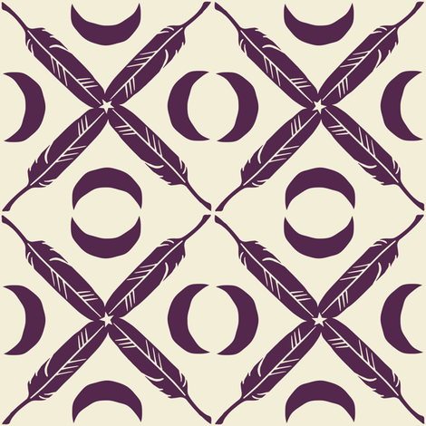 Feather Lattice - eggplant fabric by rochelle_new on Spoonflower - custom fabric