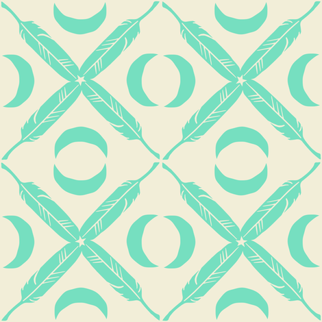 Feather Lattice - mint fabric by rochelle_new on Spoonflower - custom fabric
