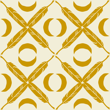 Feather Lattice - mustard fabric by rochelle_new on Spoonflower - custom fabric