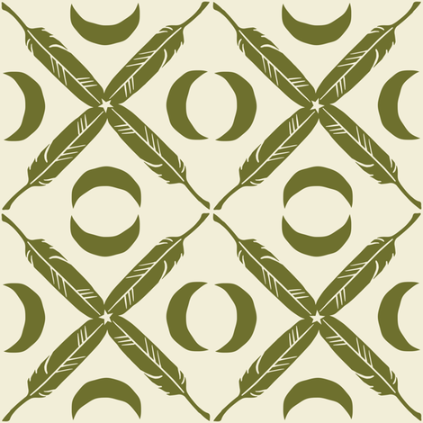 Feather Lattice - olive fabric by rochelle_new on Spoonflower - custom fabric
