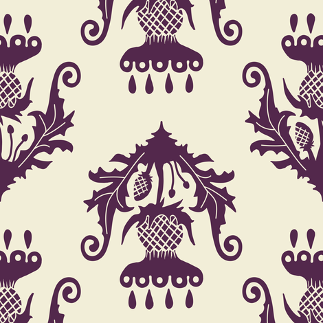 Thistle - eggplant fabric by rochelle_new on Spoonflower - custom fabric