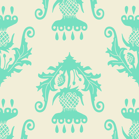 Thistle - mint fabric by rochelle_new on Spoonflower - custom fabric