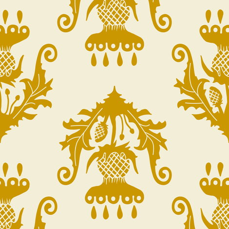 Thistle - mustard fabric by rochelle_new on Spoonflower - custom fabric