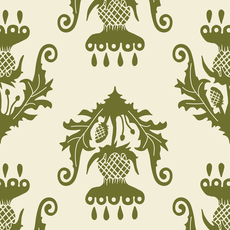 Thistle - olive fabric by rochelle_new on Spoonflower - custom fabric
