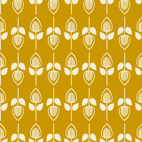Tulip - mustard fabric by rochelle_new on Spoonflower - custom fabric