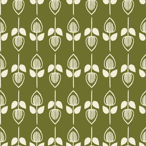 Tulip - olive fabric by rochelle_new on Spoonflower - custom fabric